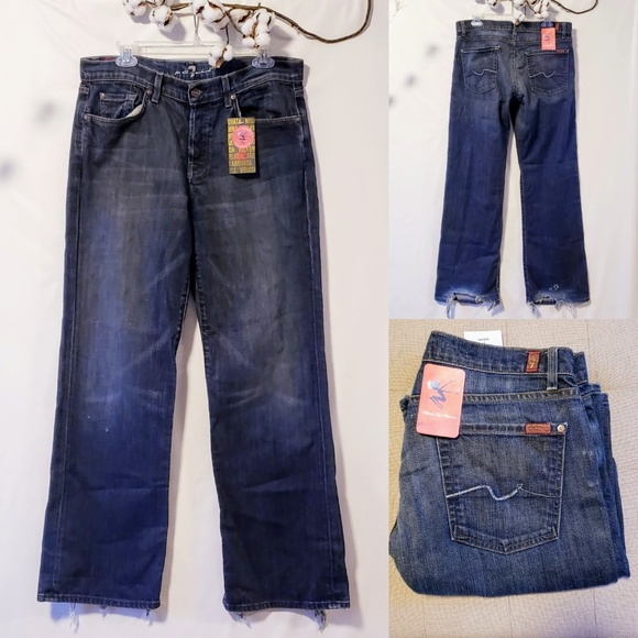 7 For All Mankind Other - 7FMK Men's dark wash distressed jeans size 32🦅